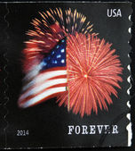 UNITED STATES OF AMERICA - CIRCA 2014: A stamp printed in USA shows Star Spangled Banner (Forever), circa 2014 — Stock Photo