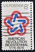 UNITED STATES OF AMERICA - CIRCA 1971: A Stamp printed in USA devoted to American Revolution Bicentennial, circa 1971 — Stock Photo