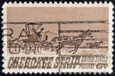 UNITED STATES OF AMERICA - CIRCA 1968: a stamp printed in USA shows Homesteaders Racing to Cherokee Strip, 75th Anniversary of the Opening of the Cherokee Strip, circa 1968 — Stock Photo