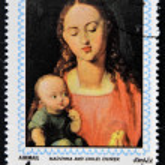 AJMAN - CIRCA 1970: Stamp printed in Ajman shows Madonna and child by Durer, circa 1970 — Stock Photo