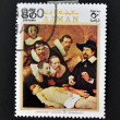 AJMAN - CIRCA 1970: A stamp printed in Ajman shows Anatomy lesson by Rembrandt, circa 1970 — Стоковое фото