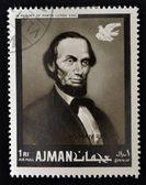 Ajman - ca. 1974: stempel bedruckt in ajman in erinnerung an martin luther king, menschenrechte, zeigt lincoln, ca. 1974 — Stockfoto