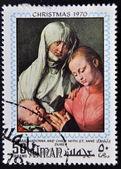 Ajman - circa 1970 : timbre imprimé à ajman montre la vierge et l'enfant avec sainte-anne de durer, circa 1970 — Photo