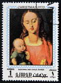 AJMAN - CIRCA 1970: Stamp printed in Ajman shows Madonna and child by Durer, circa 1970 — Stock Photo