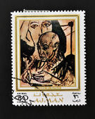 AJMAN - CIRCA 1970 A stamp printed in Ajman shows Picasso portrait by Alexander Rutsch, circa 1970 — Stock Photo