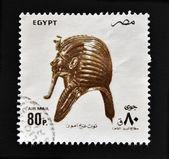 Egypt - cca 1994: razítka v egyptě ukazuje pohřební maska král tutanchamón, cca 1994 — Stock fotografie