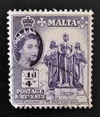 MALTA - CIRCA 1956: A stamp printed in Malta shows monument of the great siege, circa 1956 — Stock Photo