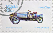 OMAN - CIRCA 1977: A stamp printed in State of Oman shows a old car, Spyker 1902 Netherlands, circa 1977 — Stock Photo