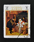 AJMAN - CIRCA 1970: A stamp printed in Ajman shows Ill woman with love by Steen, circa 1970 — Stock Photo