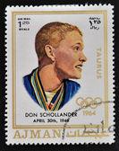 AJMAN - CIRCA 1970: A stamp printed in Ajman shows Donald Schollander, circa 1970 — Stock Photo