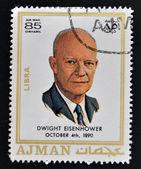 Ajman - ca 1970: en stämpel som tryckt i ajman visar dwight david eisenhower, ca 1970 — Stockfoto