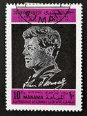 Ajman - por volta de 1970: um selo imprimido em ajman mostra john f. kennedy, circa 1970 — Foto Stock
