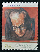 ARGENTINA - CIRCA 1997: A stamp printed in Argentina dedicated to argentinian musicians, shows Alberto Ginestera by Carlos Nine, circa 1997 — Stock Photo