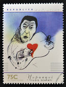 ARGENTINA - CIRCA 1997: A stamp printed in Argentina dedicated to argentinian musicians, shows Atahualpa Yupanqui by Luis Scafata, circa 1997 — Stock Photo