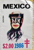 MEXICO - CIRCA 1986: A stamp printed in Mexico shows Mexican mask, Sonora, circa 1986 — Stock Photo