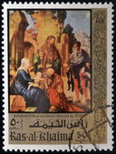 "RAS AL KHAIMA, UNITED ARAB EMIRATES, CIRCA 1970: stamp shows ""Adoration of the Magi"" (detail) painting by Durer, CIRCA 1970 — Stock Photo"