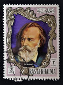 RAS AL-KHAIMAH - CIRCA 1970: a stamp printed in the Ras al-Khaimah shows Johannes Brahms, circa 1970 — Stock Photo