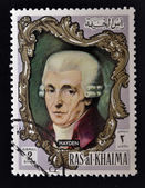 RAS AL-KHAIMAH - CIRCA 1970: a stamp printed in the Ras al-Khaimah shows Joseph Haydn, circa 1970 — Stock Photo