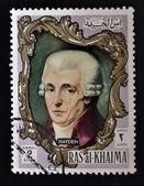 RAS AL-KHAIMAH - CIRCA 1970: a stamp printed in the Ras al-Khaimah shows Joseph Haydn, circa 1970 — Stock Photo