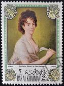 Ras al khaima - ok. 1972: znaczek wydrukowany w ras al khaima pokazuje obraz Hansa Hansena - portret kompozytora żony, konstanze mozart, około 1972 — Zdjęcie stockowe