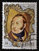 RAS AL-KHAIMAH - CIRCA 1970: a stamp printed in the Ras al-Khaimah shows Gioacchino Rossini, circa 1970 — Stockfoto