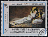 SOUTH ARABIA - CIRCA 1980: A stamp printed in South Arabia shows The Clothed Maja by Francisco de Goya, circa 1980 — Stock Photo