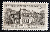 UNITED STATES OF AMERICA - CIRCA 1956: A stamp printed in USA shows Home of James Buchanan in Wheatland, circa 1956 — Stock Photo