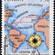 ITALY - CIRCA 1992: A stamp printed in Genoa dedicated to Columbus Celebrations shows map of the voyage of Columbus Circa 1992 — Stock Photo #9444283