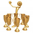 Multiple Trophy Winner Thumbs Up — Stock Photo