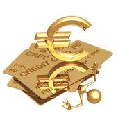 Euro de esmagamento do crédito da dívida — Foto Stock
