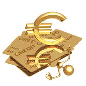 Kreditní dluh rozdrtit euro — Stock fotografie