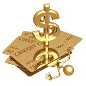Kreditní dluh rozdrtit dolar — Stock fotografie