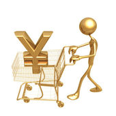 Shopping Cart Yen — Stock Photo