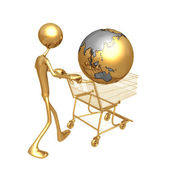 Shopping Cart Globe — Stock Photo
