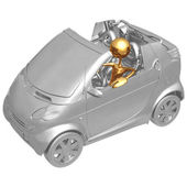 Red cabrio car driven by character (funny micromachines series) — Stock Photo