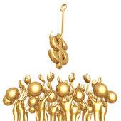 Tłum pozyskiwania dolar — Zdjęcie stockowe