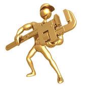 Tenere la chiave a tubo — Foto Stock