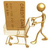 Zakupy koszyka kredytu — Zdjęcie stockowe