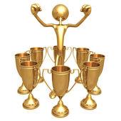 Multiple Trophy Winner Thumbs Up — Stock Photo