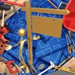 3D Construction Home Improvement Concept Presenter — Stock Photo