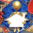 Royalty-Free Stock Photo: Holding Blank Golden Home Frame Sign