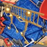 3D Home Improvement Construction Concept Teamwork Ladder — Stock Photo