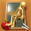 Little Golden Sleeping Student Sitting In School Desk - Stock Photo