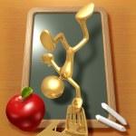 Little Golden Student Balancing On School Desk — Stock Photo