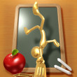 Little Golden Student Balancing On School Desk — Stock Photo