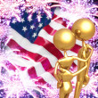Golden Couple Watching 4th of July Fireworks Display — Stock Photo