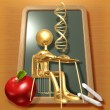 Little Golden Student With DNA Above School Desk — Stock Photo