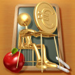 Little Golden Student With A Gold  Coin On School Desk - Lizenzfreies Foto