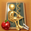 Little Golden Student With DNA Above School Desk - Photo
