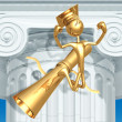 Golden Grad In Thinker Pose On Diploma Graduation Concept - Stock Photo
